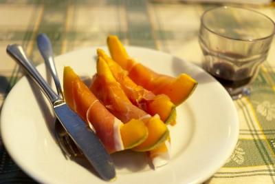 Melon og skinke